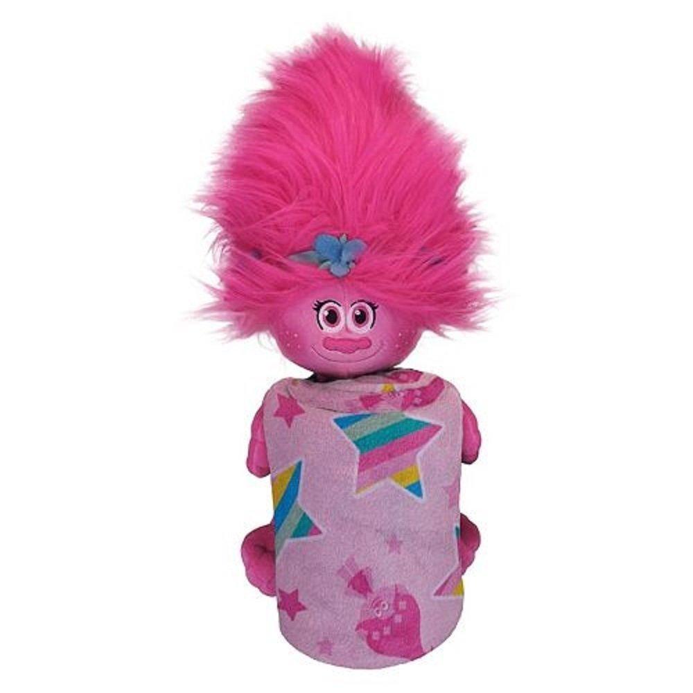 DreamWorks Trolls Poppy Fleece Throw Blanket and Large 16'' Cuddle Plush Toy - Kids