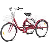 Goplus Adult Tricycle Trike Cruise Bike Three-Wheeled Bicycle w/Large Size Basket for Recreation