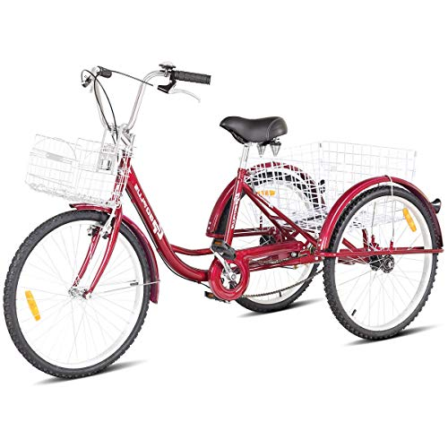 Goplus Adult Tricycle Trike Cruise Bike Three-Wheeled Bicycle w/Large Size Basket for Recreation, Shopping, Exercise Men's Women's Bike (Red, 24' Wheel)