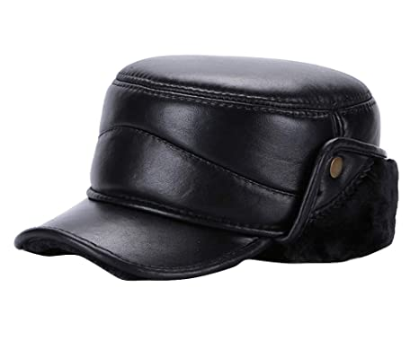 e93aef352775e5 Icegrey Mens Winter Leather Cap Earflap Hat Trapper Hunting Hat Black  XL(21.6-22in