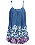 Cestyle Dressy Tops for Women,Juniors 2018 Summer Clothing Casual A Line Flowy Floral Tunic Tank Shirts Knit Print Camisoles Tee Sleeveless Patterned Tops for Evening Wedding Purple Flower Large