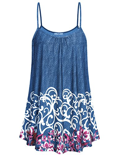 Flower Print Cami - Cestyle Loose Tank Tops for Women,Juniors Flattering Fit Patterned Camisoles Floral Print Pleats Spaghetti Strap Tunic Length Cami Shirts for Leggings Purple Flower X-Large