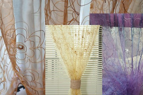 84' Sheer Curtain Panel (Decorative Modern Embroidered Floral Sheer Window Curtains/drape/panel 84'' or 95'' (Golden Brown, 52wx95l))