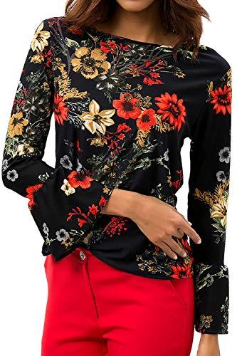 Chemise Tops Orange Flare Floral Femmes Manches Chemises De Blouse Soie Mousseline Pull qSZP8P