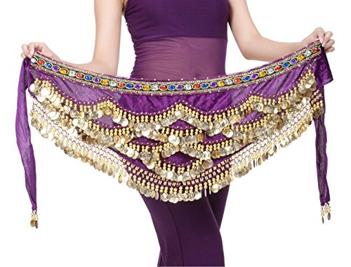 DQdq Women's Beaded Gold Coin Belly Dance Hip Wrap Scarf Purple (Sexy Belly Dance Costumes)