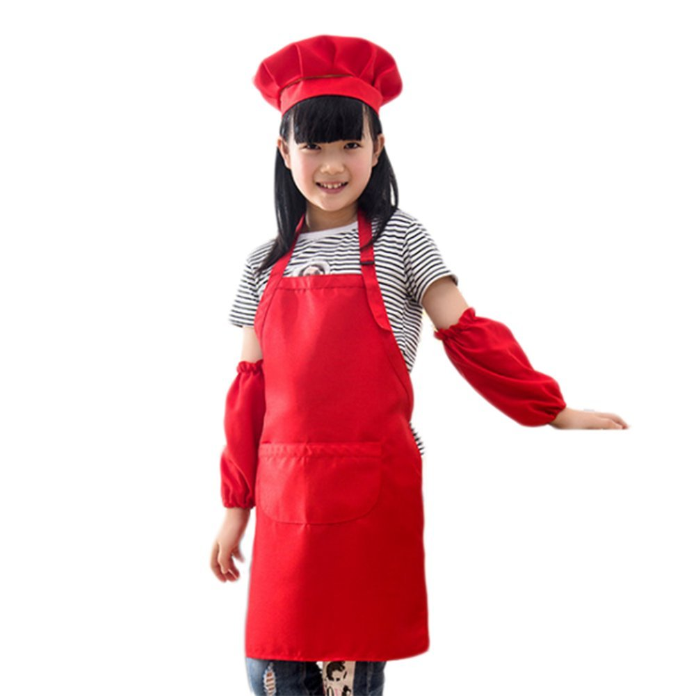 Chytaii Kids Children Apron Chef Hat and Sleeves Cover Set Spron for Kids Cooking Class Painting and Playing 50x45cm (Blue)