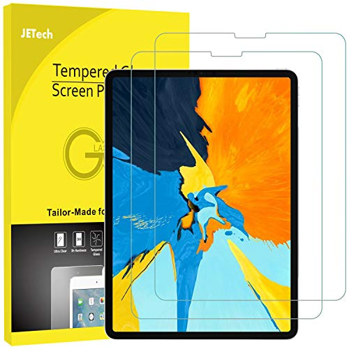 JETech 2-Pack Screen Protector for iPad Pro 11-Inch (2018 Release Edge to Edge Liquid Retina Display), Face ID Compatible, Tempered Glass Film