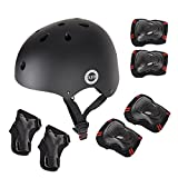 7Pcs Child Kids Bike Cycling Bicycle Protective Gear Set, Helmet Knee and Elbow Pads with Wrist Guards Toddler for Multi-sports Outdoor Activities: Rollerblading Skating Football BMX Scooter (BLACK)
