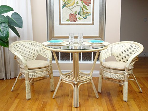 3 Pc Pelangi Rattan Wicker Dining Set Round Table Glass Top +2 Arm Chairs. White Wash (Round Glass Top Dinette)