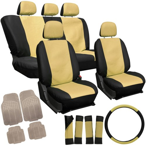 OxGord 17pc Leatherette Seat Covers w/ Beige Rubber Mats for Car/Truck/Van/SUV, Tan & Black