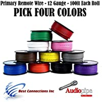 4 Rolls Audiopipe 100 Feet 12 GA Gauge AWG Primary Remote Wire Auto Power Cable