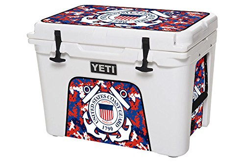Personalized Coast Guard - USATuff YETI Wrap - Fits YETI 35QT Tundra - Toughest & Thickest 24mil Cooler Skin - Lid & Insert - US Coast Guard Digicamo - (Cooler Not Included)