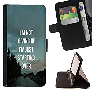 BullDog Case - FOR/LG Nexus 5 D820 D821 / - / not giving up starting over inspiring /- Monedero de cuero de la PU Llevar cubierta de la caja con el ID Credit Card Slots Flip funda de cuer