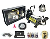Fuwa Mini Airbrush Compressor Complete System Kit for use on Nails, Tattoo, or Tanning (Kit Includes: Holbein Aeroflash Colors from Japan, Ginza Airbrush Gun, and Some other Airbrush Parts)