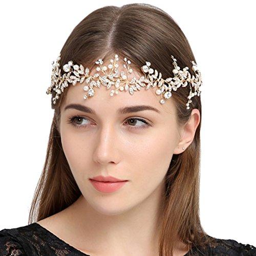 Bridal Headpiece (FAYBOX Handmade Crystal Rhinestones Wedding Head Band Bridal Hair Accessorie Headpieces Gold-tone)