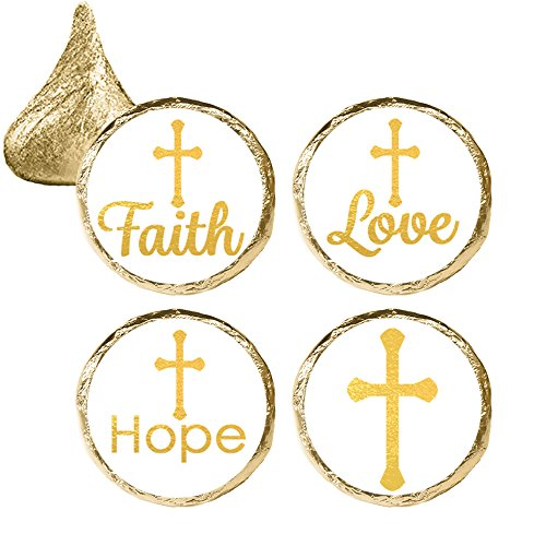First Communion Candy - Baptism, Christening, First Communion Party Favor Decorations - Gold Cross Stickers (324 Count)