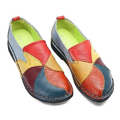 Socofy dam mokassin, läder loafers 2019 vår sommar stövlar platta skor körning mjuk Ultra Comfort Slip On halvskor, MEHRWEG