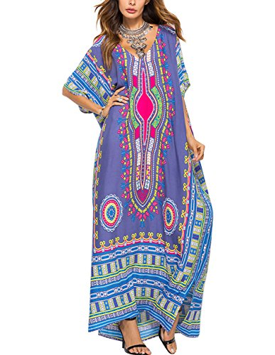 Women Bathing Suits Cover Up Ethnic Print Kaftan Beach Maxi Dress Grey ()