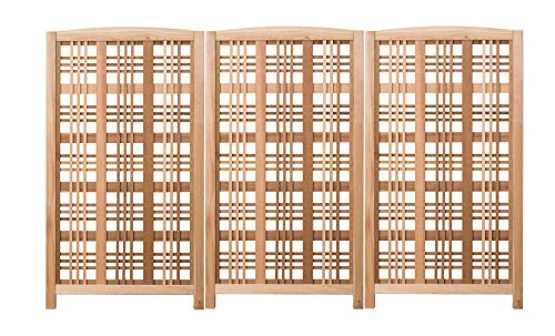 Cedar Wood Hampton Landscape Screen Each Panel 65 Inches - Outdoor Privacy Screen with Lattice Panel Design - Natural, Set of 3