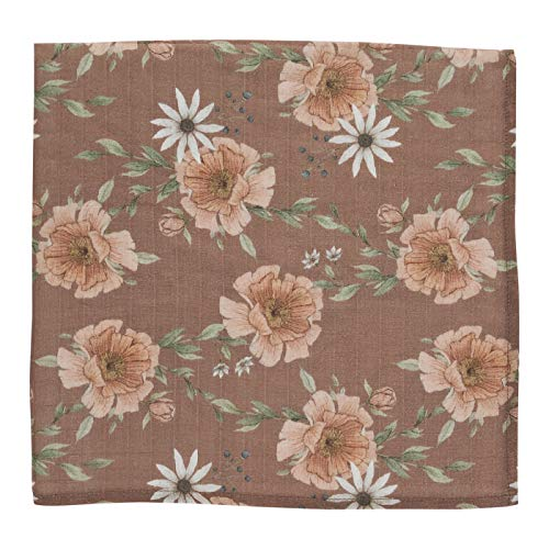 Peony Bloom (Clay Brown) - Soft Muslin Cotton Swaddle Blanket, Newborn Receiving Nursing Cover, Floral Essentials Girl Wrap - for Baby Shower Registry (Brown Receiving Blankets)