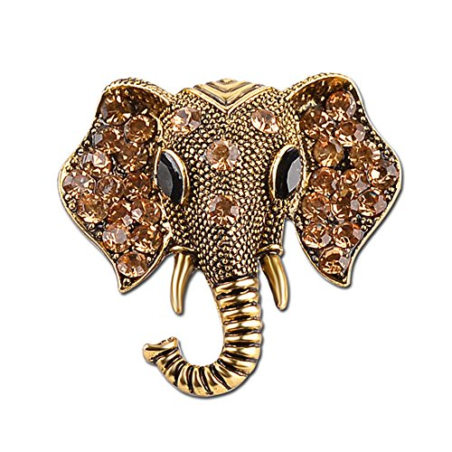 Stan-Deed Gold Tone Clear Crystal Colored Rhinestones Matte Elephant Crown Vintage Brooch Pin (Gold)