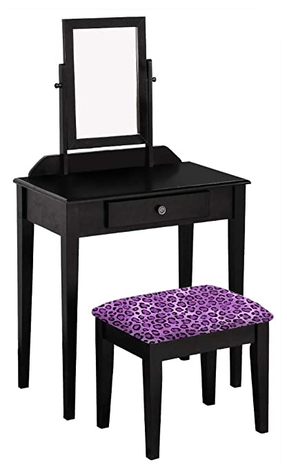 The Furniture Cove Wood Vanity Make-Up Table with Mirror in a Black Finish  with 7db95d00d