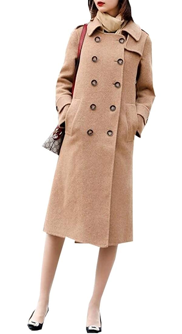 1 Sanderso Women's Vintage Double Breasted Thicken Wool Blend Long Pea Coat Overcoat