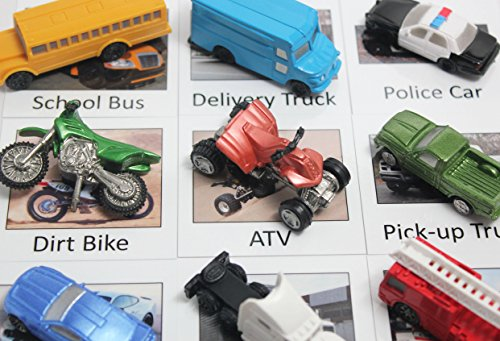 Montessori Object Match with Cards- Transportation Vehicles to Matching Cards - Match Cars and Truck Miniatures to Photos