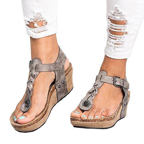 Printemps Gris Automne Sandale Couleurs Unie Sandale Mxssi Couleur Caoutchouc Ouvert Mode à Été Femme Wedge Semelle 35 Bout 4 Chaussures Sandales 43 en Boucle gwfw7q