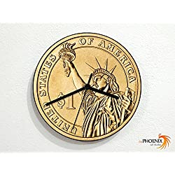 Coins - 1 United States Dollar - Currency Money Finance - Custom Name Wall Clock