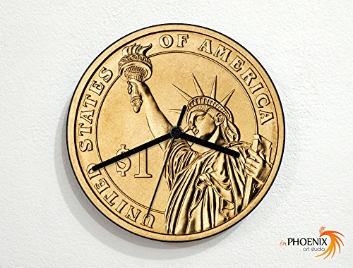 Coins - 1 United States Dollar - Currency Money Finance - Custom Name Wall - Bankers Clock