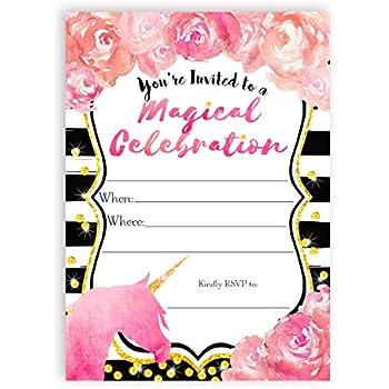 Amazoncom Pink Unicorn Invitation Fill in Style 10 Count