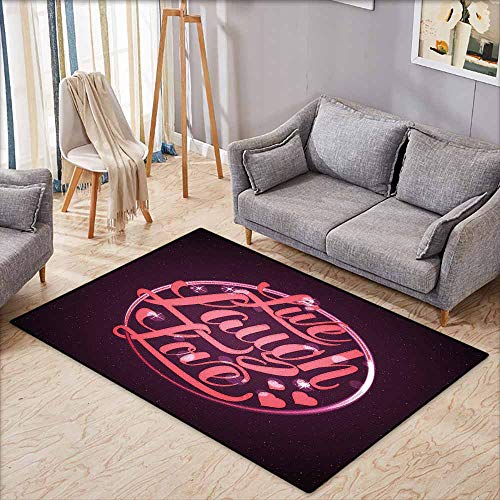 Large Area Rug,Live Laugh Love Hearts and Bokeh Background with Positive Drive Boosting Quote,Anti-Slip Doormat Footpad Machine Washable,4'11