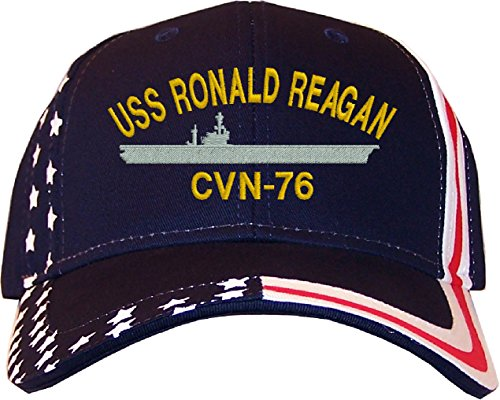 Ronald Reagan Baseball - Spiffy Custom Gifts USS Ronald Reagan CVN-76 Stars & Stripes Baseball Cap Navy