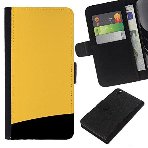 GIFT CHOICE / Smartphone Leather Wallet Case Housse coque Couvercle de protection Étui Couverture pour HTC DESIRE 816 // Jaune et noir //