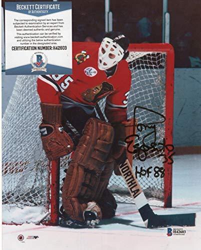 TONY ESPOSITO CHICAGO BLACK HAWKS HOF 88 SIGNED 8X10 PHOTO BECKETT H42603