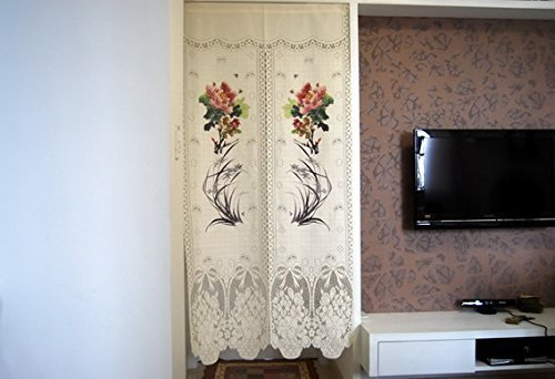 Elegant Lace Japanese Noren Peony and Orchid Printing Door Curtain by LifEast