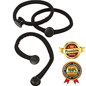 PREMIUM No-Crease Snap-Off Hair Ties By Snappee (Black) - Ouchless Pain-Free Removal for Curly/Thick/Natural Hair, Ponytails/Buns & Hand-Made with Non-Elastic, Durable, Soft Stretchy Material!