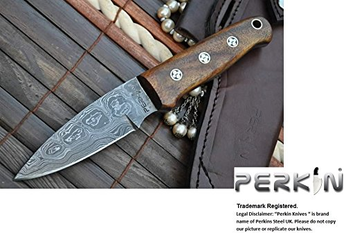Perkin Damascus Hunting Knife With Sharpener and Sheath Beautiful Bushcraft Knife