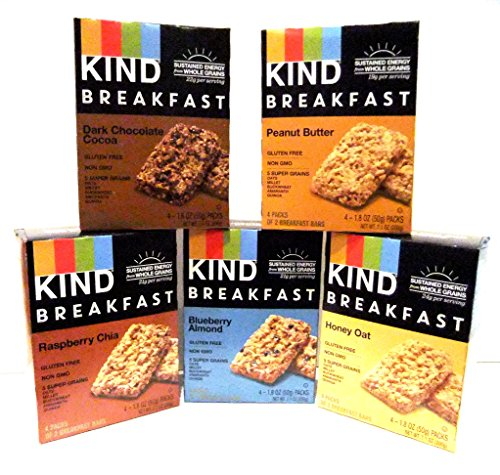 Kind, Breakfast Bars, Variety 5 Pack, 1 Box of Each: Dark Chocolate Cocoa, Honey Oat, Peanut Butter, Raspberry Chia, Blueberry Almond. Each Box Contains 8 Bars.