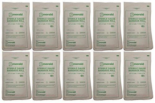 "Emerald Sterile Krinkle Kerlix Type 4 1/2"" x 4 1/8 Yds, Bandage Roll - Pack of 10"