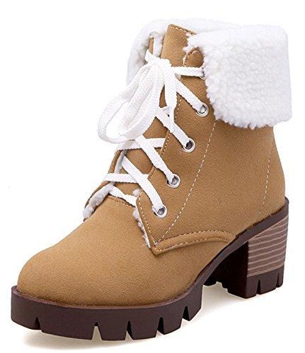 Idifu Piattaforma Classica In Ecopelliccia Da Donna Con Tacco Medio E Tacco Alto Martin Boots Stivaletti Alla Caviglia Giallo