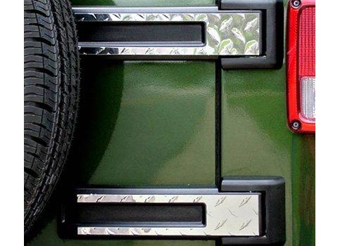 Action Artistry Jeep Wrangler Billet Aluminum Tailgate Hinge Covers - TAILGT-HNGCVSDPLT