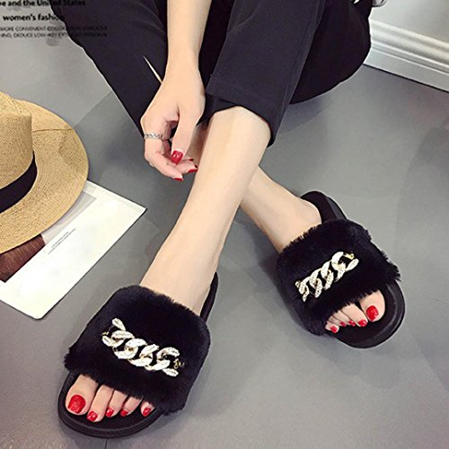 Chaussons Flat Fluffy Flip On Slip Sandal Femme Flop Noir Rawdah Chaussures Sliders Faux Fur Slipper wSdHEqOnC