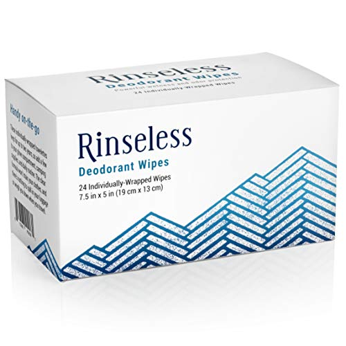 Rinseless Deodorant Wipes Individually Wrapped (24 Count) Travel Friendly Antiperspirant Wipes