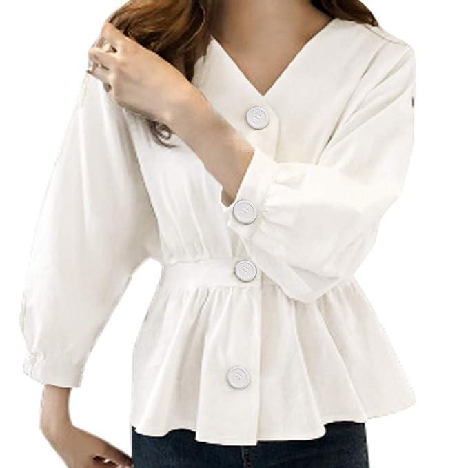 Blusa Tipo túnica de Manga Larga para Mujer con Cuello en V ...