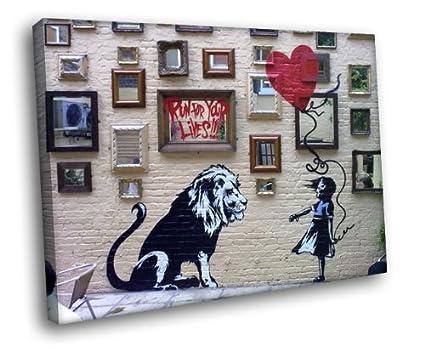 f7d790140 Amazon.com: H5D8268 Girl Lion Banksy Graffiti Street Art 20x16 ...
