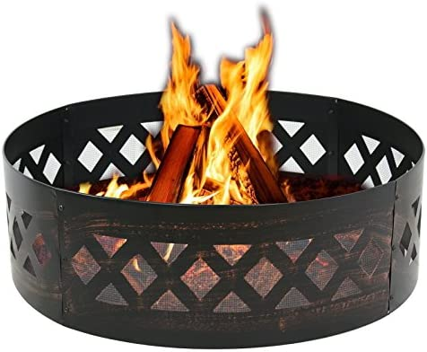 HomGarden Portable 37 Fire Pit Campfire Ring Large Outdoor Heavy Duty Steel Wood Burning Firepit Patio Camping Fire Rings