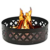Cheap F2C 37 Inch Heavy Duty Steel Wilderness Fire Ring Fire Pit Ring Campfire Ring Patio Camping Outdoors