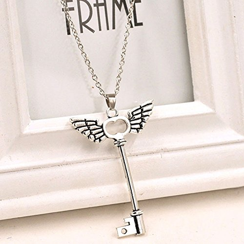 Owill Unisex Angel wings Key Pattern Friendship Pendant Long Chain Silver Color Necklace (A, Silver)